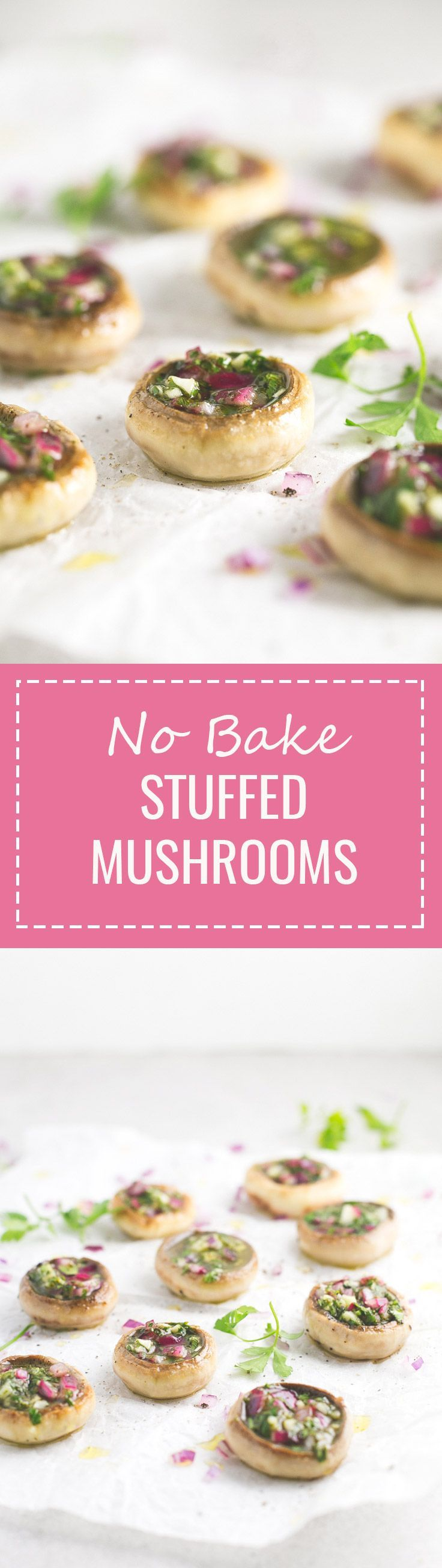 (Vegan and GF) No Bake Stuffed Mushrooms - Stuffed mushrooms are the perfect appetizer for Christmas and this no-bake recipe is super simple and full of flavor.