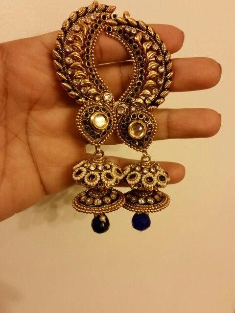 Designer Kundan ear cuff kaan phool earrings from Diya Collections available for purchase on Ebay  #bridaljewellery #weddingjewellery #asianbride #desibride #desijewellery #bridaljewelry #kundan #kundanearrings #jewellery #jewelry #desijewelry