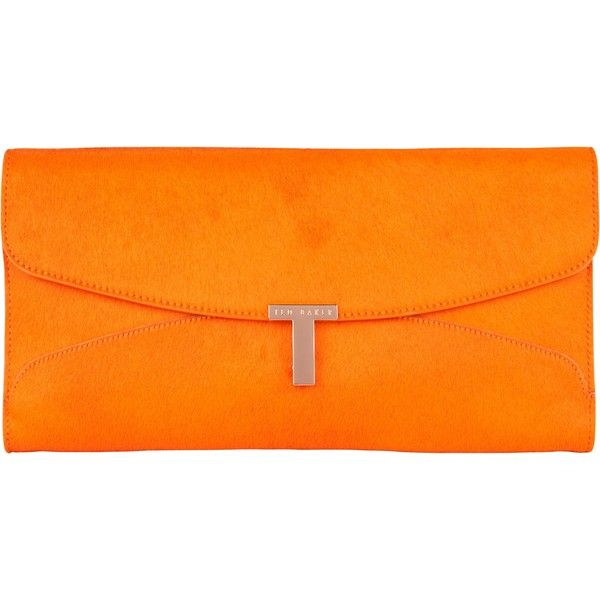 Ted Baker Jamun Maxi Leather Clutch Bag , Tangerine (41.635 HUF) found on Polyvore featuring bags, handbags, clutches, orange leather handbag, evening purse, evening clutches, evening handbags and neon clutches