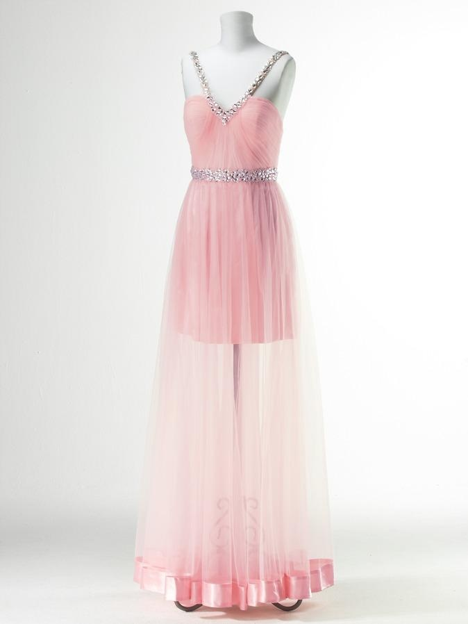 Club l chiffon prom dress on mannequin