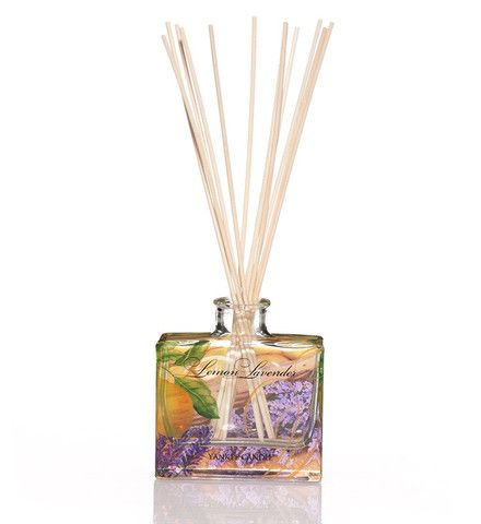 Yankee Candle Lemon Lavender Reed Diffuser delivers clean and inviting … a powdery fresh blend of tangy lemon citrus and sweet lavender flowers.  Finished is a  decorated glass bottle its ever so cute!
