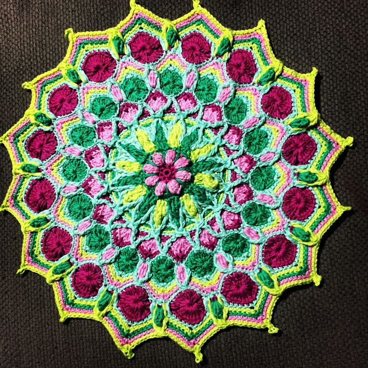 "My finished ""Jenny's Mandala"" pattern by Amanda Williams Inspired by Jenny Bloom @ Little Box of Crochet. Gone too soon from us. Work by Co Brady"