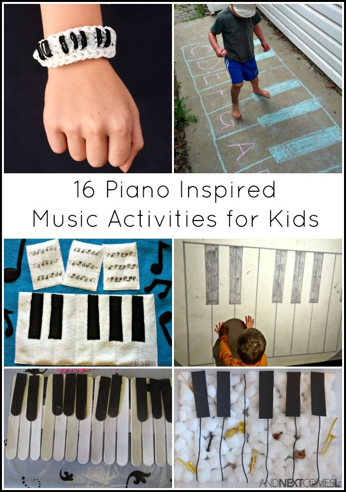 Music activities for kids inspired by pianos - includes sensory activities, gross motor play, and piano crafts for kids from And Next Comes L