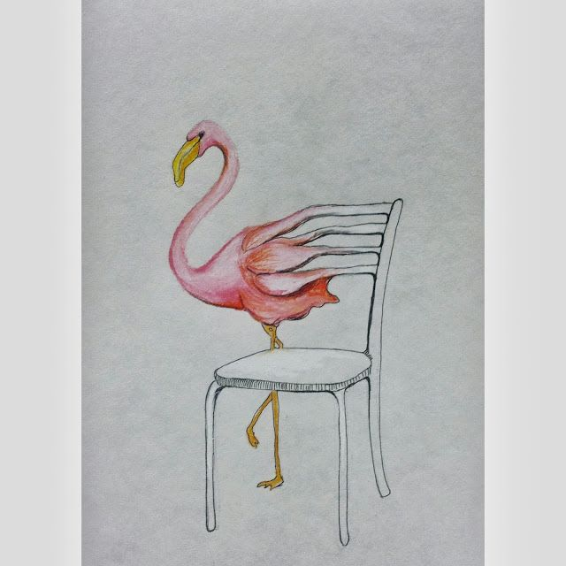 Take a Seat, flamingo, drawing, morphing, hybrid, illustration, chair, bird, prismacolor colored pencils