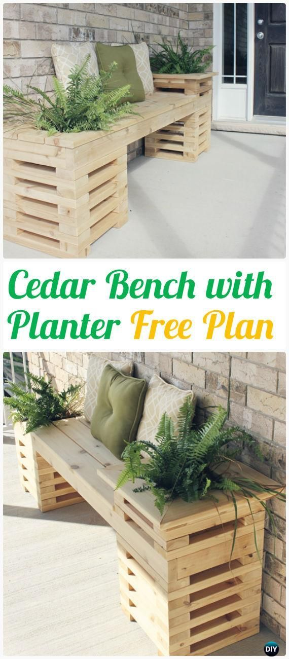 DIY Cedar Wood Bench With Side Planters Instructions   Outdoor Garden Bench  Ideas