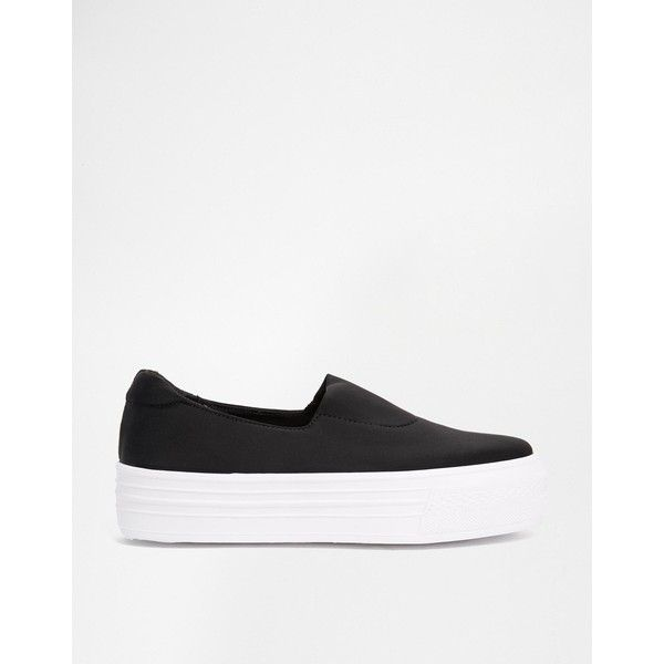 ASOS DENISON Sneakers (60 CAD) ❤ liked on Polyvore featuring shoes, sneakers, platform trainers, asos sneakers, round toe sneakers, slip on shoes and platform tennis shoes