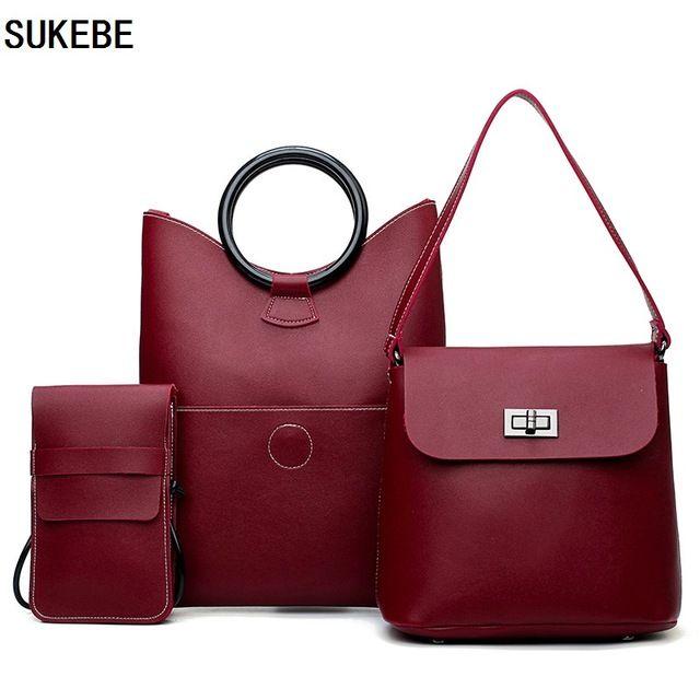 732ac11421a SUKEBE Women Bag Casual Tote Women Messenger Bags Brands Handbag Set PU Leather  Composite Bag Women