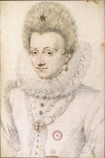 1599 Gabrielle d'Estrées at 26 by Daniel Dumoûtier.  This sketch is for the official portrait of the recognized mistress of the king.  In 1596 Henri IV made her duchess of Beaufort, had started divorce proceedings and considered marrying her, but she died in childbirth after bearing the king 3 children.  She wears jeweled star buttons and hair ornament, pearl teardrop earrings worth 1500 ecus and a very original pearl necklace.  A great admirer of pearls, she had 3500 of them.