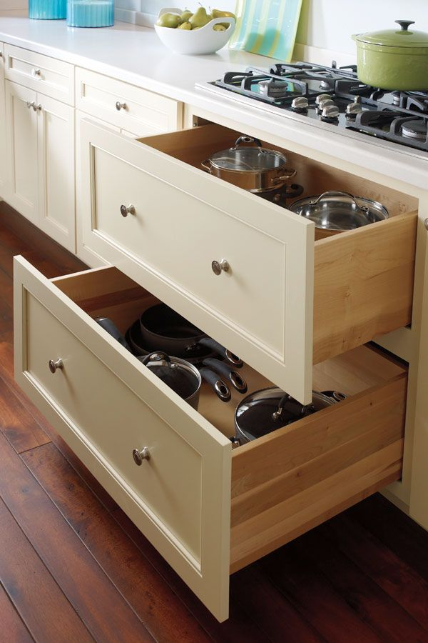 two deep drawers are perfect for pots pans or any taller items and are