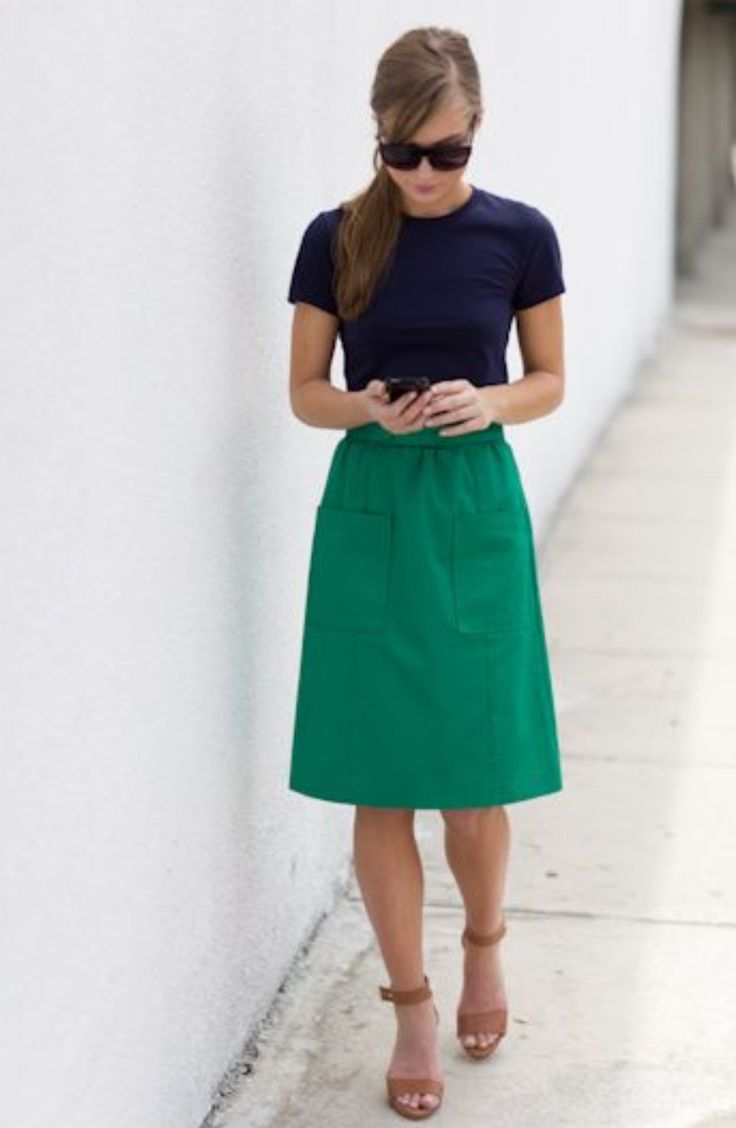 love this simple combo - top/skirt/shoes/shades - great colors and shape