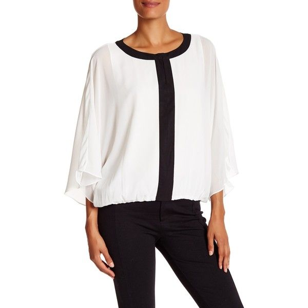 Vince Camuto Batwing Keyhole Blouse ($45) ❤ liked on Polyvore featuring tops, blouses, new ivory, batwing tops, batwing blouse, keyhole blouse, white keyhole blouse and white batwing top