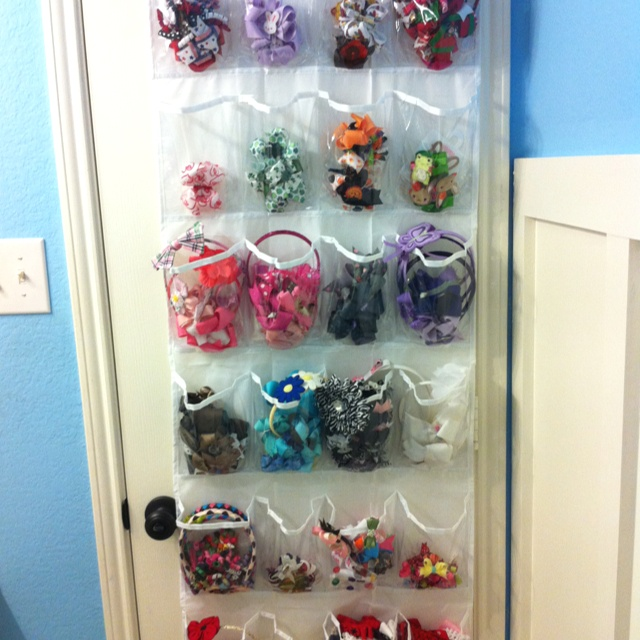 use a clear over the door shoe organizer for hair accessories organized madness pinterest. Black Bedroom Furniture Sets. Home Design Ideas