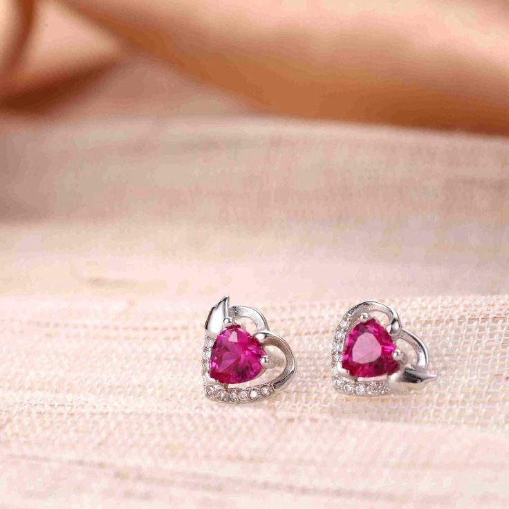 UneJoux Sterling Silver Olene Ruby Earrings - UneJoux