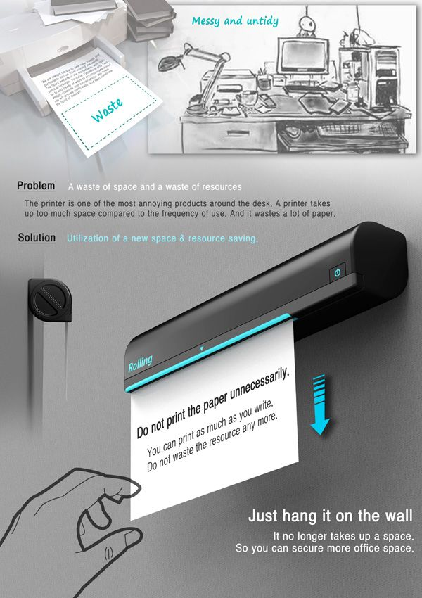 Wall-mounted Rolling Printer that not only saves desk space; it also saves paper.  What a great idea!