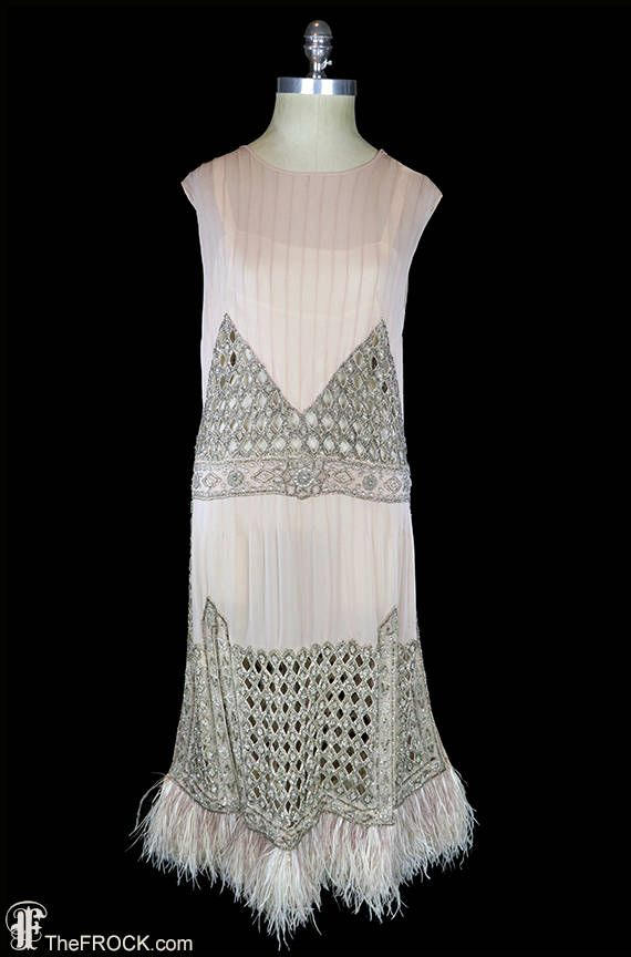 1920s flapper era dress, heavily beaded silk chiffon wedding or evening dress, Art Deco jeweled rhinestones, ostrich feather, pintucks, 1930