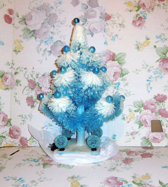 Vintage Christmas Tree Blue Large Bottle Brush Table Top