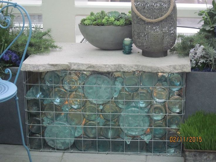 Recycled Bottle Gabion Table With Stone Top Gabion Wall Gabion Wall Design Wall Design