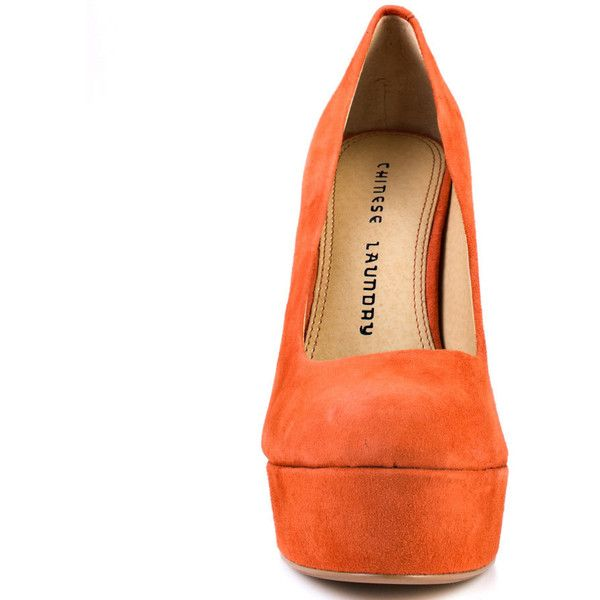 Chinese Laundry Women's Moving On - Pumpkin Suede (1.020.840 IDR) ❤ liked on Polyvore featuring shoes, pumps, high heel pumps, party pump, suede platform pumps, suede pumps and party shoes