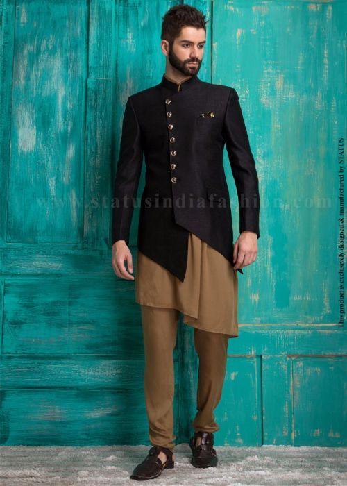 Asymmetric men's nehru jacket with gathered kurta pattern.