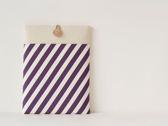 13 inch Macbook Air case, Macbook Pro case, Laptop sleeve / Candy Stripe Purple