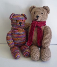 Teddy Bear Stripes - This pattern is available as a free Ravelry download. This pattern can be used to knit a plain teddy bear or one that's covered in stripes. When worked in DK weight yarn the bear is 30cm tall but the size could be altered by using thinner or thicker yarn. Tips are given on managing all those colours, including sewing the seams neatly.