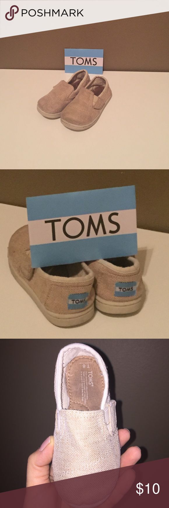 TOMS in burlap These burlap TOMS in Y8 go with anything! They are USED, but have room for lots more love and wear. TOMS Shoes