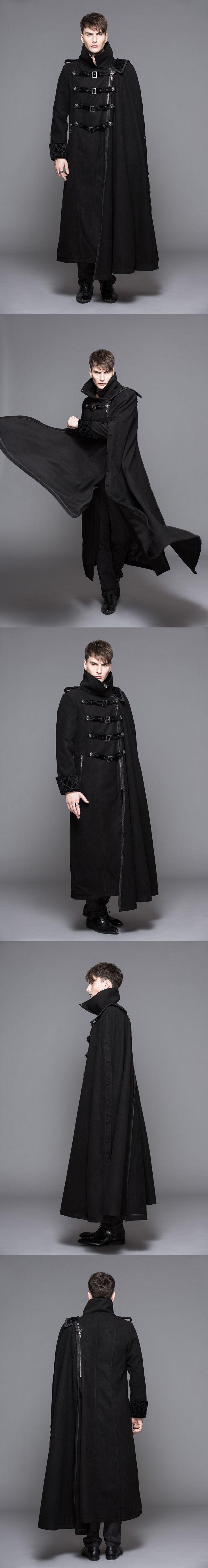 Hommes De Mode de Causalité Manteau D'hiver De Laine Chaud Amovible Cape Manteau De Mode Punk Gothique Outwear Hommes Poussière Manches Amovible Cape Manteau