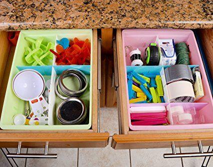 Divisori per Cassetti (6 Set) della Uncluttered Designs, lucidi e personalizzabili, in plastica resistente, per i vestiti del vostro bambino, oggetti per il bricolage, per i cassetti dell'ufficio, della cucina, della biancheria e del bagno (Multicolori): Amazon.it: Casa e cucina