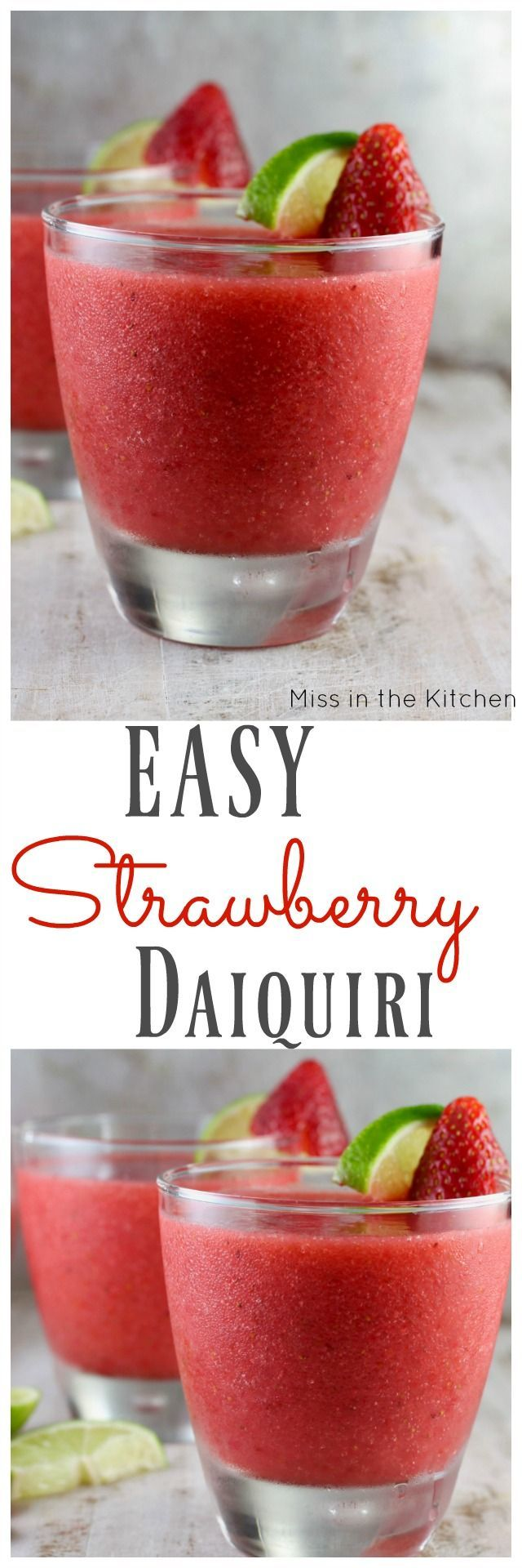 Easy Strawberry Daiquiri Cocktail ~ Perfect weekend cocktail recipe found at http://MissintheKitchen.com