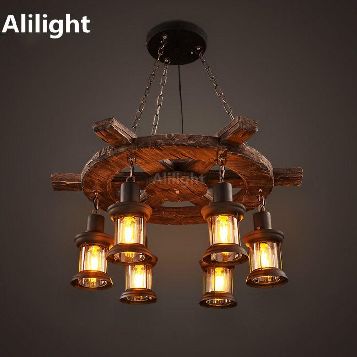 Retro Endüstriyel Kolye Lambaları Eski Tekne Ahşap Kolye Işıkları için Işık Asılı Amerikan Country Nostalji Bar Cafe Mağaza Armatürleri(China (Mainland))