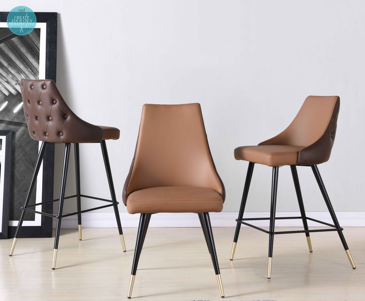 Our latest Corta Dining Series combines Transitional with hints of Mid-Century silhouette; featuring two-toned brown hues in leather like upholstery adorned with tufted buttons on the back side and propped on brass painted tip legs - NPD Furniture