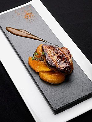 Foie gras with mango juice and spicy