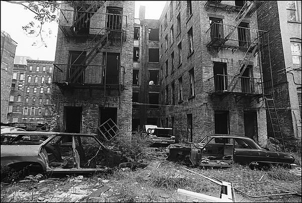 The lower east side - New York City in the 1970s  kinda sums it up-it was like living in a war zone