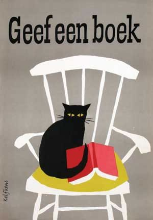 "Chisholm Poster - Original Vintage Poster Gallery in Chelsea Manhattan New York. Geef een Boek    ""Give a book."" A lovely vintage poster for Dutch book week showing all the pleasures of home...a comfortable chair, a cat and a good book.    by Kelfkens    c. 1960"
