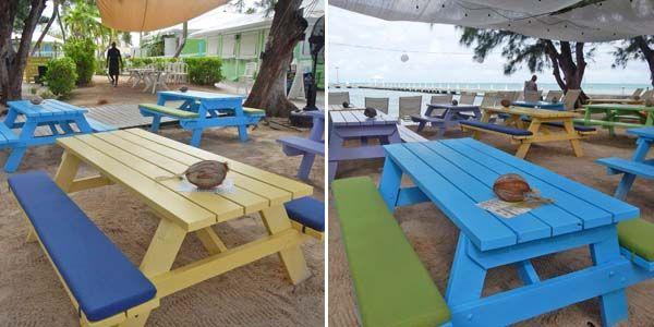 Sunbrella RAIN Bench Cushions Add Playful Vibe to Beach Picnic Tables
