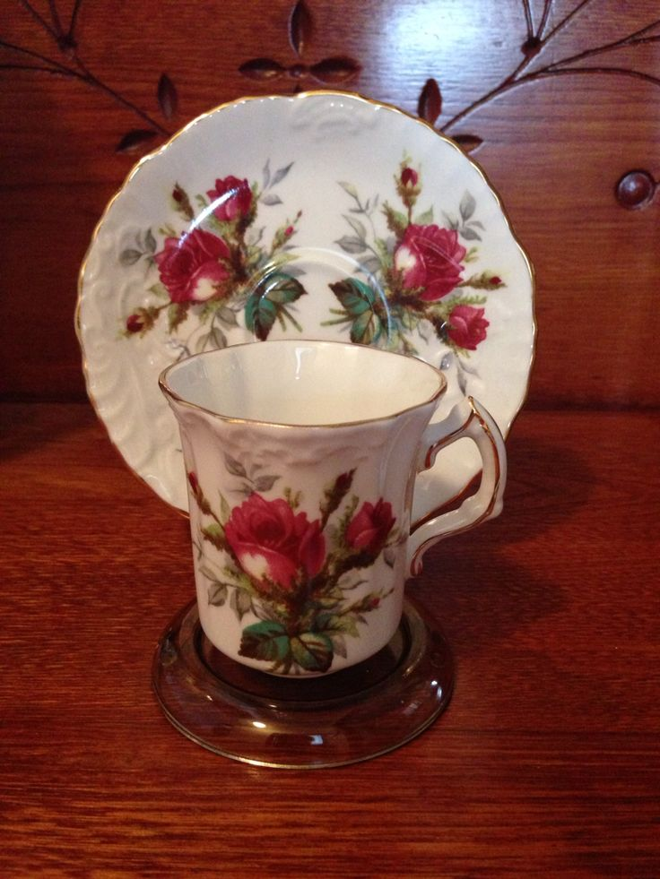 Hammersley Bone China H 56. Grandmother's Rose. Demitasse Cup & Saucer. Researched Value $65.00