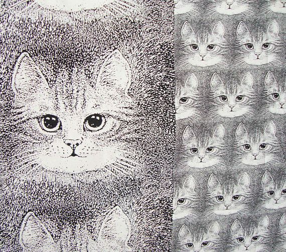 Vintage Cat Fabric Valerie Leonard Kitty Cats Novelty Print Material Yardage 7.8 Yd