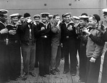 Soviet and American sailors in Alaska on Victory over Japan Day