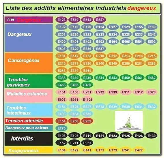 Liste des additifs alimentaires dangereux/Dangerous additives on food - to avoid