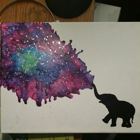 Elephant galaxy crayon melting art. DIY follow me or my art board for more original crayon meltings all done by me. Find my meltings for sale on etsy username: bitchiscrafty