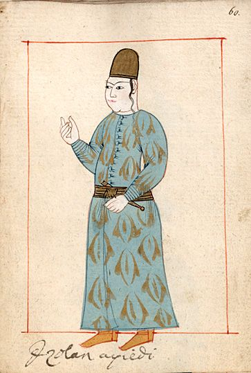 """Page  """"Izolan aqildi(?)"""" lcoglan. The 'Rålamb Costume Book' is a small volume containing 121 miniatures in Indian ink with gouache and some gilding, displaying Turkish officials, occupations and folk types. They were acquired in Constantinople in 1657-58 by Claes Rålamb who led a Swedish embassy to the Sublime Porte, and arrived in the Swedish Royal Library / Manuscript Department in 1886."""