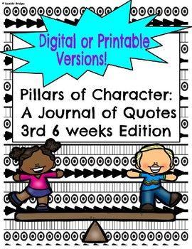 3rd 6 Weeks-Pillars of Character: A Journal of... by The Digital Daydreamer | Teachers Pay Teachers