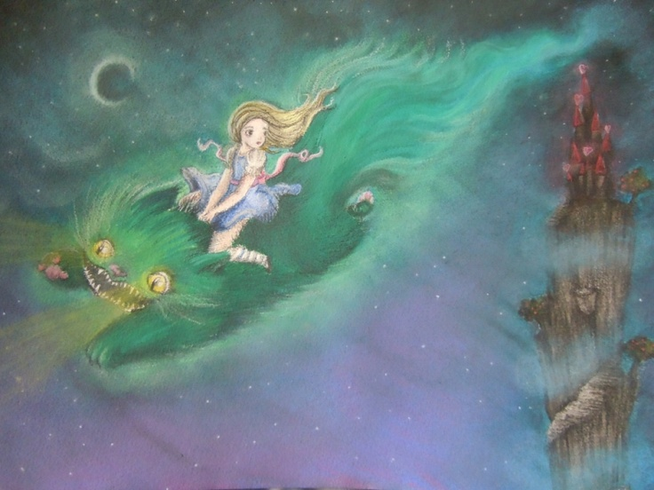A water colour and pastel painting of Alice flying on the Chesire cat. One of my favourite children's stories of all time.