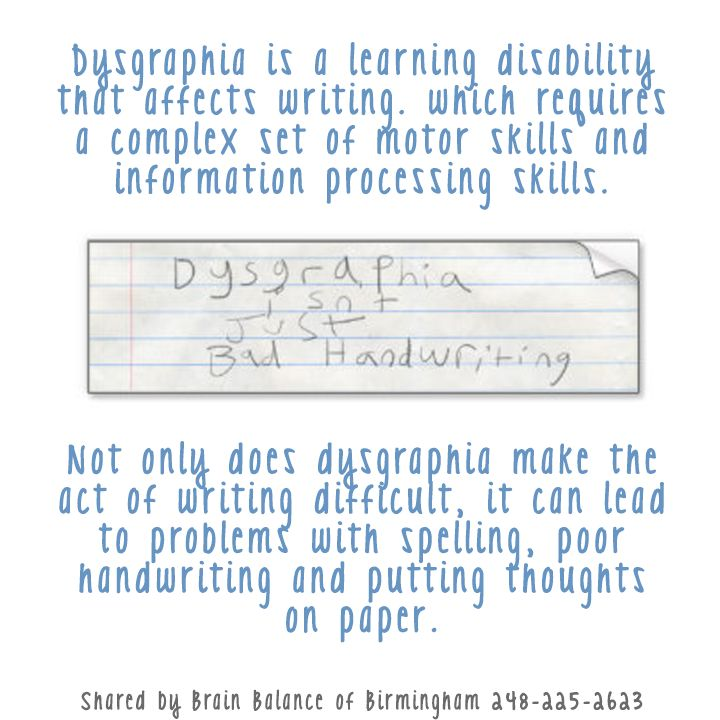 Dysgraphia Is A Learningdisability That Affects Writing