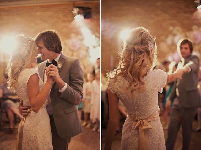 first dance loveliness http://su.pr/2YpNJl (love the bride's hair & blush pink sash!)