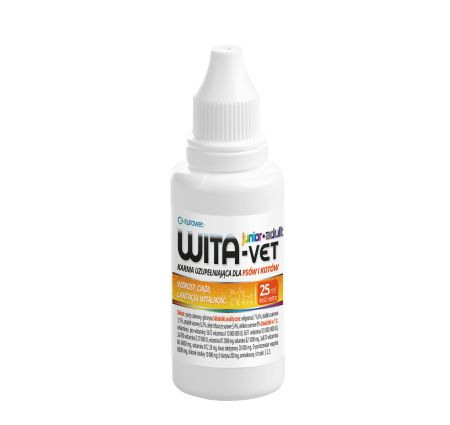 WITA-VET Krople 25 ml. Preparat WITA-WET Krople jest przeznaczony dla szczeniąt, suk i kotek ciężarnych, karmiących, dla psów w okresie rekonwalescencji, psów hodowlanych, wystawowych oraz dla zwierząt narażonych na wysiłek fizyczny. Stosuje się także przy osłabionym apetycie oraz u zwierząt starszych.