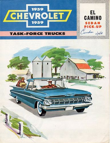1959 Chevrolet El Camino vintage ad poster from Canada, with farm drawing in background.