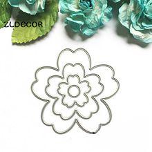 ZLDECOR 4 unid Nueva Flor Plantillas de Troqueles De Corte de Metal para DIY Scrapbooking/álbum de foto Decorativo En Relieve DIY Tarjetas De Papel(China (Mainland))