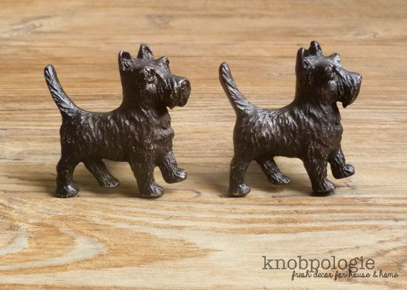 SET of 2 - Brown Scotty Dog Knobs - Scottish Terrier Doggie Drawer Pull - Puppy Nursery Decor - Decorative Monopoly Theme Cabinet Decor