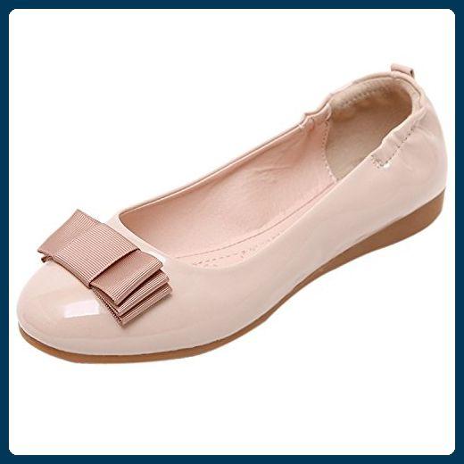 dqq Damen Schleife faltbar Ballett flache Schuhe, Beige - beige - Größe: 39 - Ballerinas für frauen (*Partner-Link)